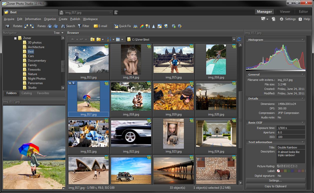 Zoner Photo Studio FREE screenshot: gps, photography, photos, photo, digital photography, pictures, picture management, photo management, photo manager, picture manager, archiving, archival, EXIF, PDF, Web publishing, panoramas, panorama, 3D, image browser, print calendars