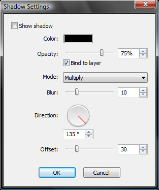 The shadow settings window
