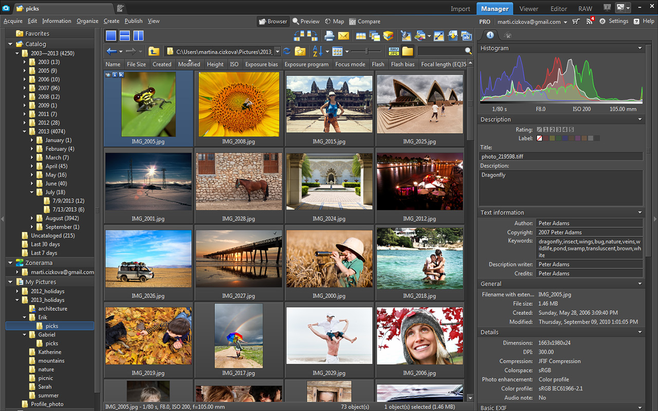 Zoner Photo Studio X Windows software for editing and organizing photos